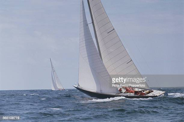 View of the racing yacht Sovereign of the Royal Thames Yacht Club challenging the racing yacht Constellation of the New York Yacht Club during the...
