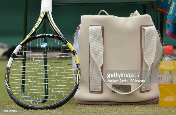 A view of the racquet and Stella McCartney bag belonging to Denmark's Caroline Wozniacki before her match against Croatia's Ana Konjuh during day...