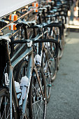 View of the RadioshackNissan Trek team's cycles prior to Stage 6 of the AMGEN Tour of California