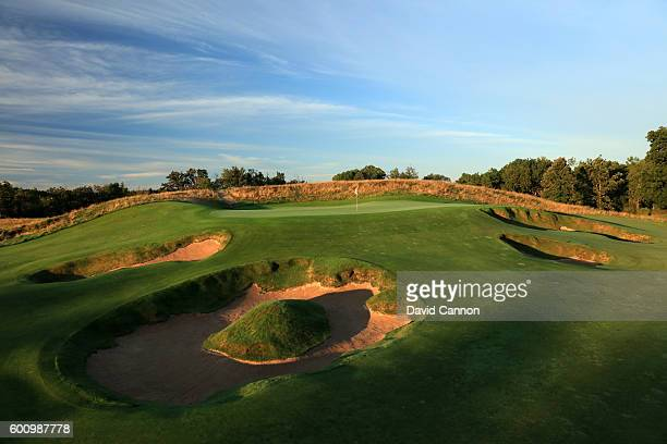 A view of the raised green on the 370 yards par 4 15th hole at Erin Hills Golf Course the venue for the 2017 US Open Championship on August 31 2016...