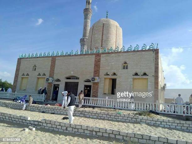 TOPSHOT View of the Rawda mosque roughly 40 kilometres west of the North Sinai capital of ElArish after a gun and bombing attack on November 24 2017...