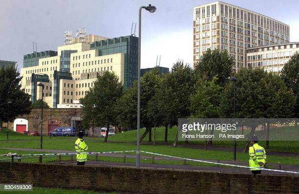 A view of the rear of MI6 headquarters from Spring Gardens Vauxhall London The gardens which are currently cordoned off by police following evidence...
