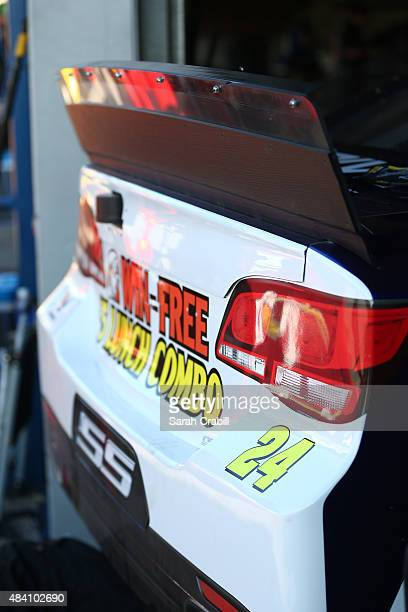 A view of the rear spoiler on the Pepsi Chevrolet in the garage during practice for the NASCAR Sprint Cup Series Pure Michigan 400 at Michigan...