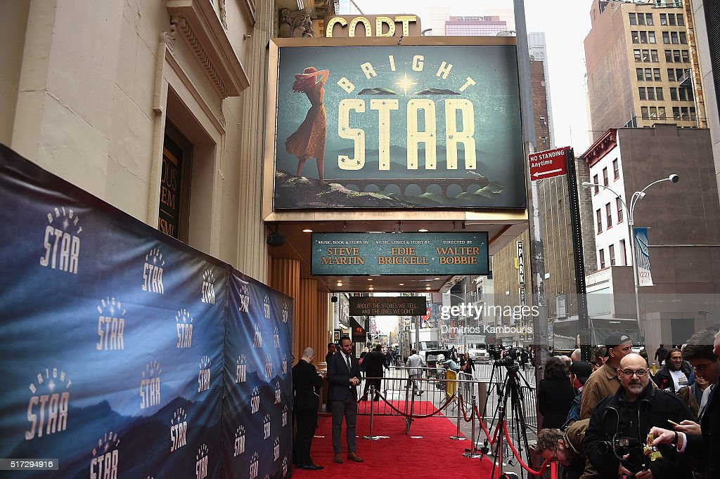 A view of the red carpet outside the theatre before 'Bright Star' Opening Night on Broadway at The Cort Theatre on March 24, 2016 in New York City.
