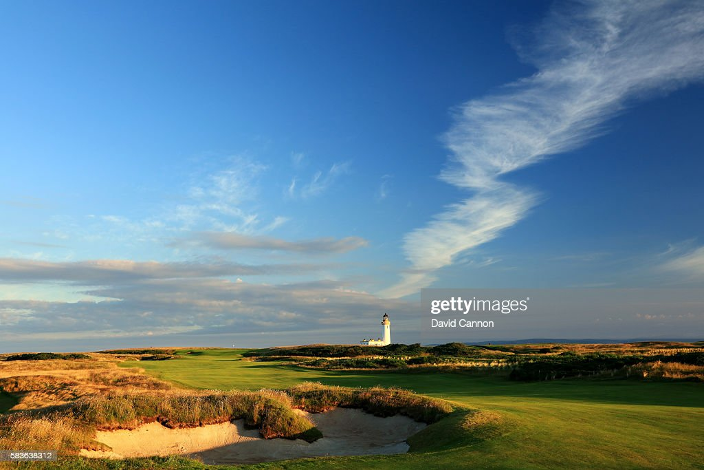 A view of the redesigned 568 yards par 5 14th hole of the Ailsa Course at the Trump Turnberry Resort on July 19 2016 in Turnberry Scotland