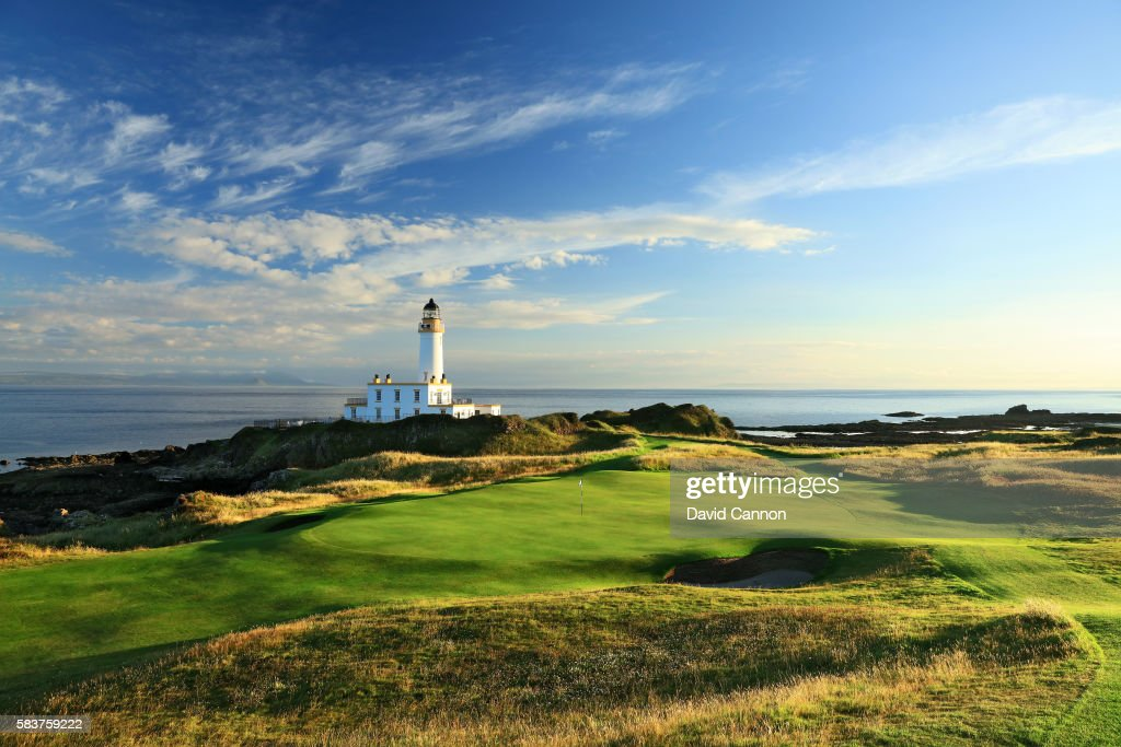 A view of the redesigned green on the new 248 yards par 3 ninth hole of the Ailsa Course at the Trump Turnberry Resort on July 19 2016 in Turnberry...