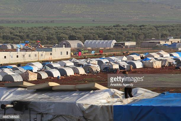 A view of the refugee camp near Atme town of Syria on the border with Turkey March 9 2015 Syrians fleeing war and left their homes in Atme town of...