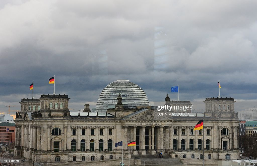View of the Reichstag building which houses the Bundestag lower house of parliament taken from the chancellery in Berlin January 14 2015 AFP PHOTO /...