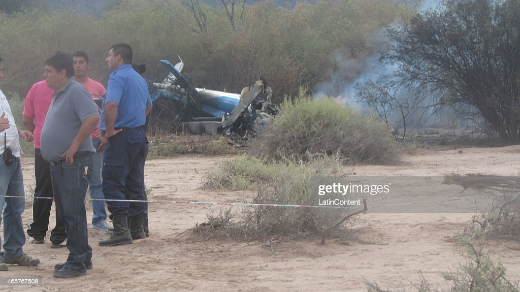 View of the remains of one of the helicopters that crashed while filming 'Dropped' a reality TV show in the Argentinian province of La Rioja Three...