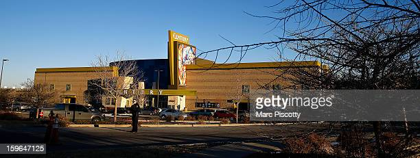 A view of the remodeled exterior facade of the Cinemark Century 16 Theaters on January 17 2013 in Aurora Colorado The theater was the site of a mass...