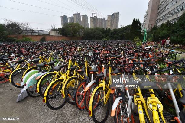 A view of the rental bikes detained by the local urban administration authority of Luyang district on August 16 2017 in Hefei China Tens of thousands...