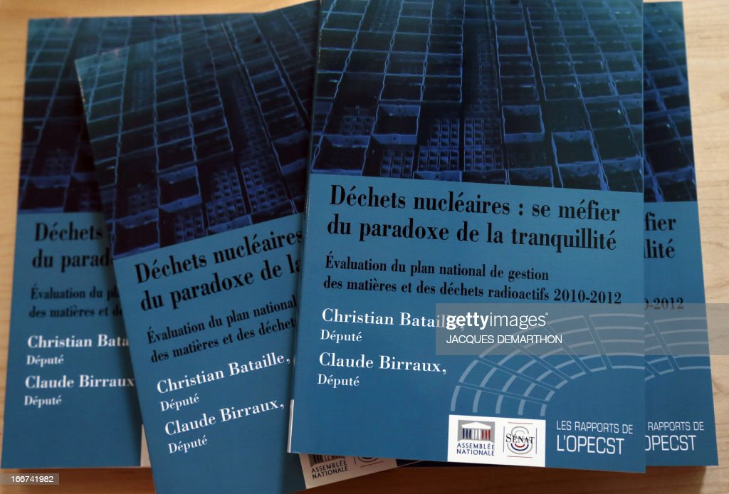 View of the report of the Parliamentary Office for Evaluation of Scientific and Technological Choices (OPECST) on nuclear waste at the National Assembly in Paris on April 16, 2013.