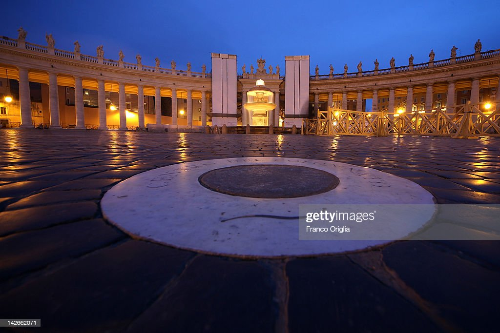 A view of the restoration works of the colonnade of Gian Lorenzo Bernini in St. Peter's Square on April 10, 2012 in Vatican City, Vatican. The square was designed by architect Gian Lorenzo Bernini in 1656. The two semi-circles of the colonnade are surrounded by 140 statues and 244 columns. Guy Devreux of the Vatican Laboratory for Marble and Cast began direction of the works in 2009.