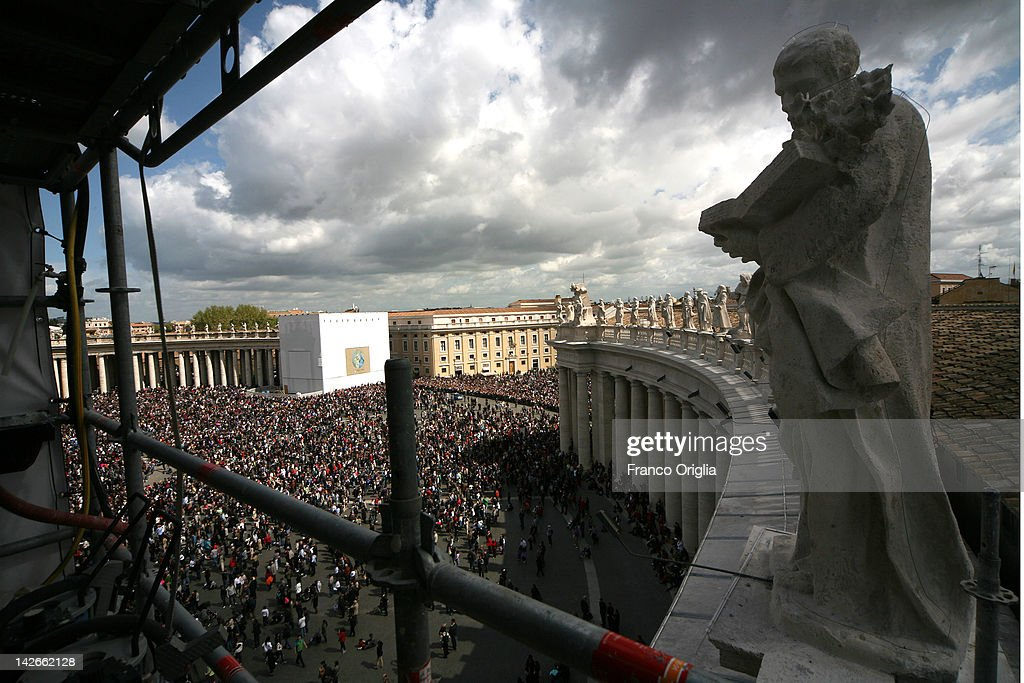 A view of the restoration works of the colonnade of Gian Lorenzo Bernini in St. Peter's Square during Easter Mass on April 08, 2012 in Vatican City, Vatican. The square was designed by architect Gian Lorenzo Bernini in 1656. The two semi-circles of the colonnade are surrounded by 140 statues and 244 columns. Guy Devreux of the Vatican Laboratory for Marble and Cast began direction of the works in 2009.