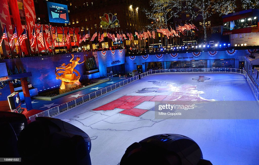 A view of The Rink at Rockefeller Center during the results of the 2012 Presidential election on November 6, 2012 in New York City.