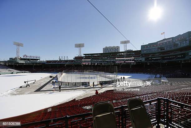 A view of the rink from the third base stands at Fenway Park before a Frozen Fenway NCAA Men's Division 1 hockey game between the Boston University...