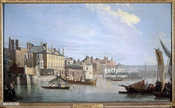 View of the River Thames and Montagu House London 1749 with boats on the river