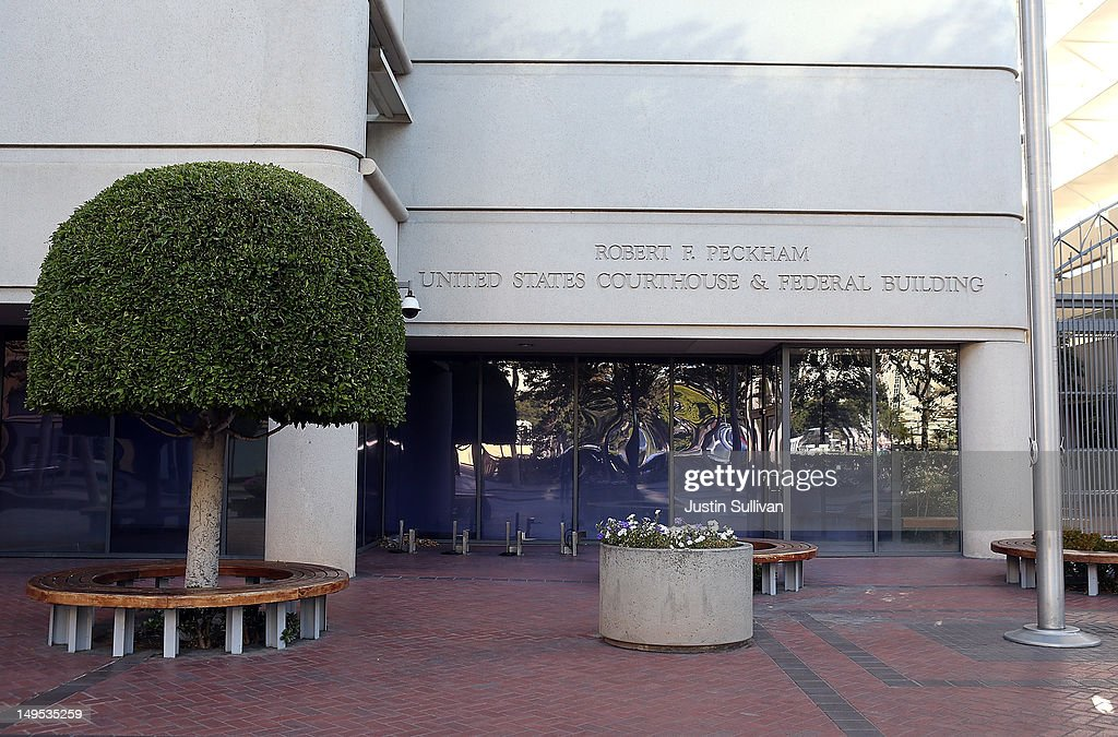 A view of the Robert F. Peckham Federal Courthouse on July 30, 2012 in San Jose, California. The trial in the Apple Inc. and Samsung Electronics Co. patent battle begins today at a San Jose federal courthouse to determine if Samsung illegally copied technolgy used in Apple's popular iPhone and iPads. Apple is seeking $2.5 billion in damages.