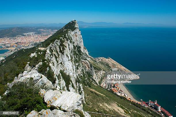 View of the rock and Mediterranean Sea from the observation platform at the top of the Rock of Gibraltar which is a British Overseas Territory...