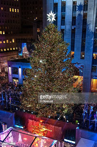 A view of the Rockefeller Center Tree moments after lighting during the 83rd Rockefeller Center Tree Lighting 2015 on December 2 2015 in New York City