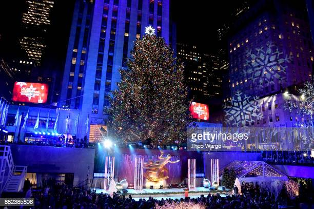 A view of the Rockefeller Plaza during the 85th Rockefeller Center Christmas Tree Lighting Ceremony at Rockefeller Center on November 29 2017 in New...