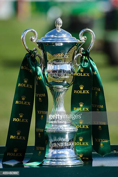 A view of the Rolex Grand Slam trophy as seen during the individual jumping equestrian on the final day of the Masters tournament at Spruce Meadows...