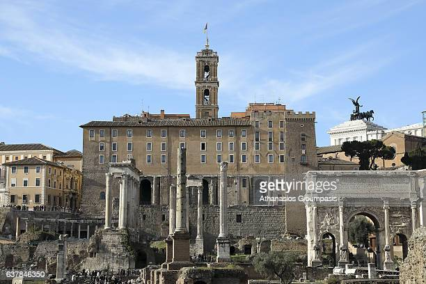 View of the Roman Forum and Capitoline Hill on December 31 2016 in Rome Italy The Roman Forum is a rectangular forum surrounded by the ruins of...