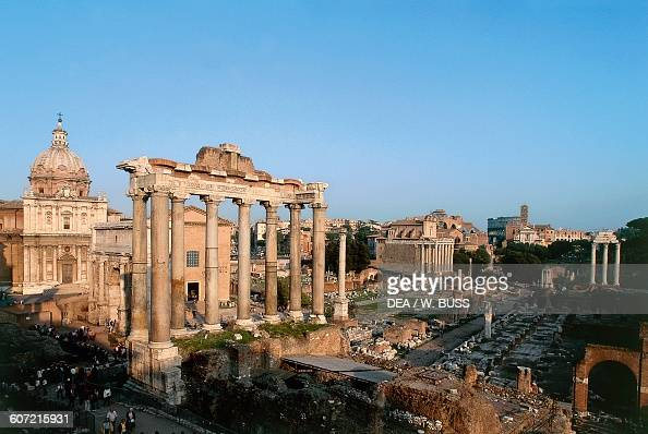 View of the Roman Forum with the Temple of Saturn 5th century BC Historic centre of Rome Lazio Italy Roman civilisation