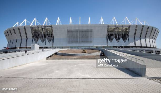 A view of the Rostov Arena in the southern Russian city of RostovonDon on August 21 2017 The venue will host five games of the FIFA World Cup 2018 /...