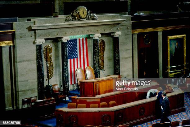 View of the rostrum in the United States Senate Chambers Washington DC March 6 1991