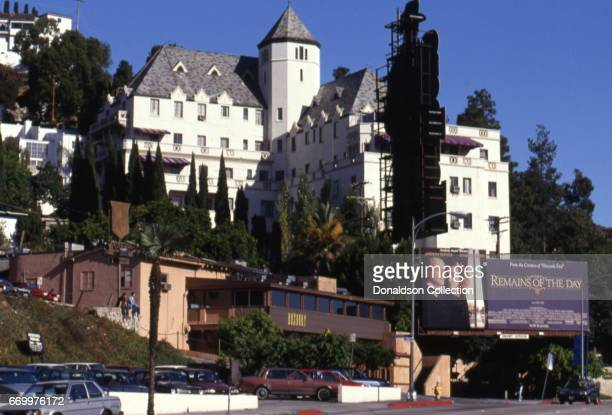 A view of the Roxbury nightclub below the Chateau Marmont next to a billboard for the movie 'Remains of the Day' which features an image of Anthony...