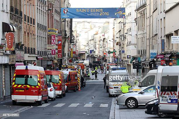 View of the 'Rue de la Republique' close to where the police raid occured earlier on November 18 2015 in SaintDenis France French Police special...