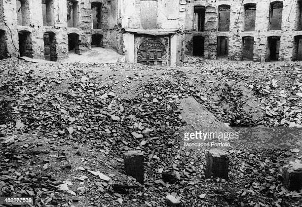 View of the ruins of Teatro Carlo Felice in Genoa after the bombing of August 1943 Genoa 1943
