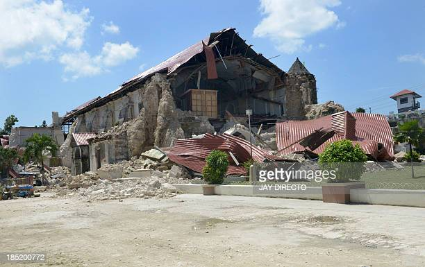 A view of the ruins of the historic Loboc Church in Loboc town on the central Philippine island of Bohol on October 18 2013 The death toll from a...