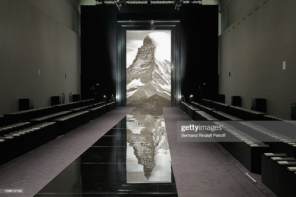 A view of the runway prior to the Louis Vuitton Men Autumn / Winter 2013 show as part of Paris Fashion Week on January 17, 2013 in Paris, France.