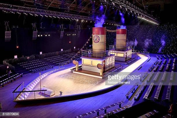 A view of the runway set at the Tommy Hilfiger Women's Fall 2016 show during New York Fashion Week The Shows at Park Avenue Armory on February 15...
