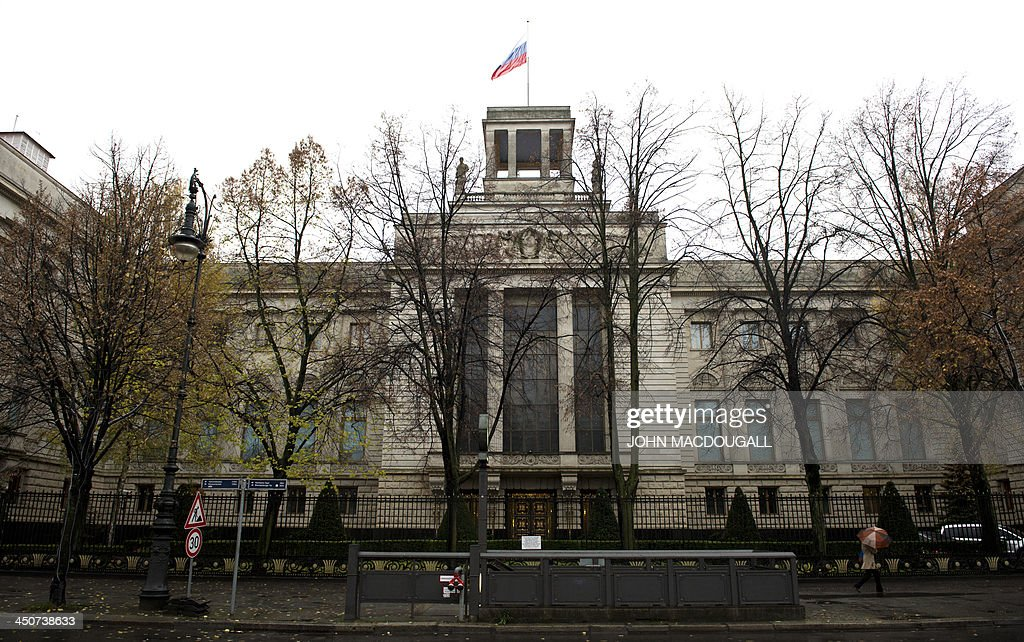 View of the Russian embassy building in Berlin on November 20, 2013.