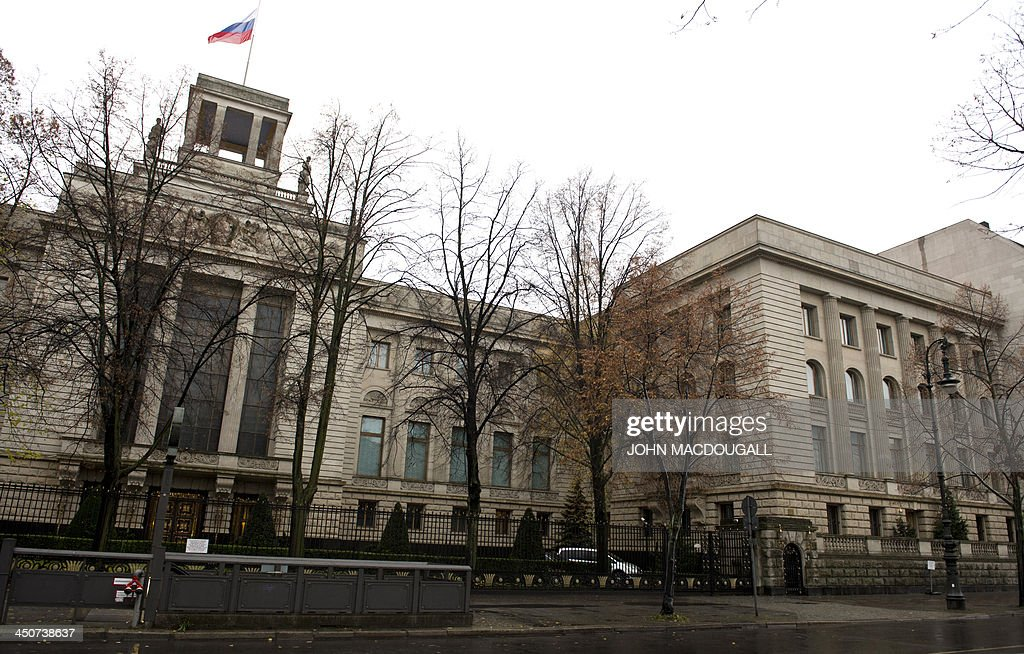 View of the Russian embassy building in Berlin on November 20, 2013. AFP PHOTO / JOHN MACDOUGALL