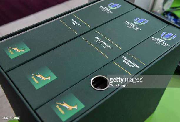 A view of the SA Rugby bid submission for the 2023 Rugby World Cup handed into World Rugby on May 30 2017 in Dublin Ireland