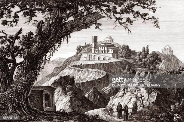 View of the Sacro Monte of Belmonte Valperga Piedmont Italy copper engraving 292x195 cm from Corografia fisica storica e statistica dell'Italia e...