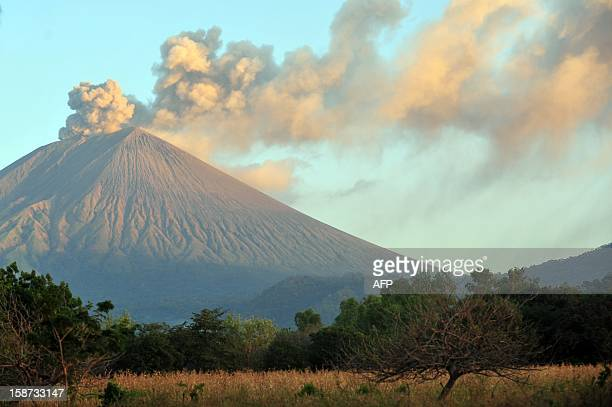 View of the San Cristobal volcano from Chinandega 150 km from Managua on December 26 2012 The San Cristobal volcano began spewing smoke and ashes...