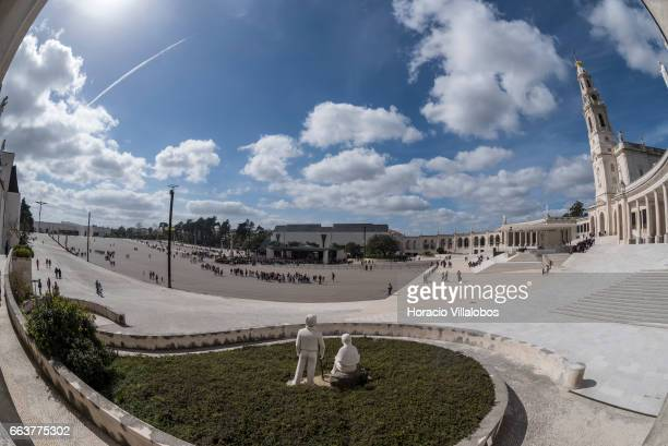 View of the Sanctuary of Fatima on April 1 2017 in Fatima Portugal Thousands of pilgrims and worshippers visit daily the sanctuary and an enormous...