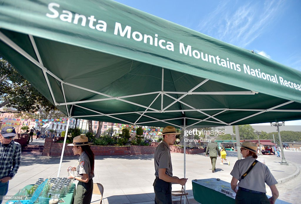 A view of the Santa Monica Mountains National Recreation Area booth during the Find Your Park Virtual View Tour event at El Pueblo de Los Angeles...
