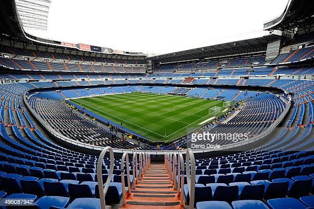 View of the santiago Bernabeu stadium ahead of the La Liga match between Real Madrid CF and UD Las Palmas at Estadio Santiago Bernabeu on October 31...