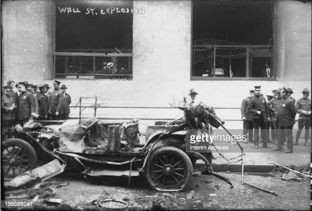 View of the scene at the Wall Street terrorist bombing possibly by anarchists in New York's financial district September 1920