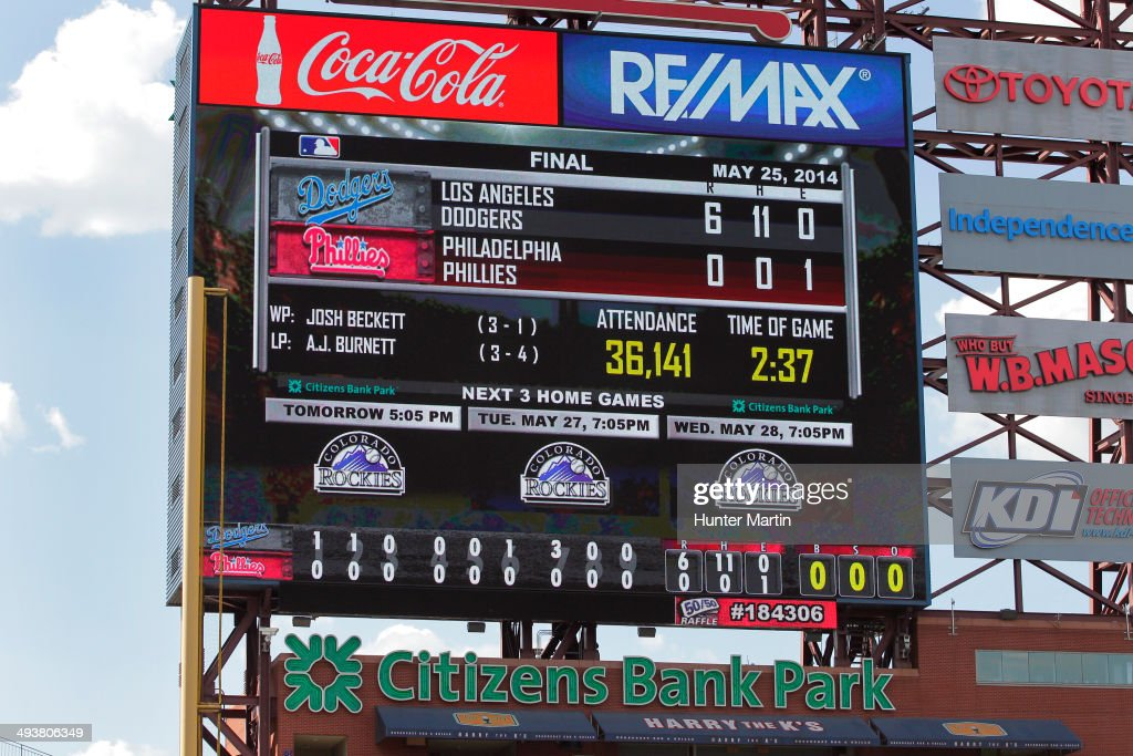 A view of the scoreboard after starting pitcher <a gi-track='captionPersonalityLinkClicked' href=/galleries/search?phrase=Josh+Beckett&family=editorial&specificpeople=206314 ng-click='$event.stopPropagation()'>Josh Beckett</a> #61 of the Los Angeles Dodgers threw a no hitter against the Philadelphia Phillies at Citizens Bank Park on May 25, 2014 in Philadelphia, Pennsylvania. The Dodgers won 6-0.