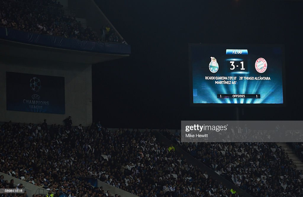 A view of the scoreboard after the UEFA Champions League Quarter Final first leg match between FC Porto and FC Bayern Muenchen at Estadio do Dragao...