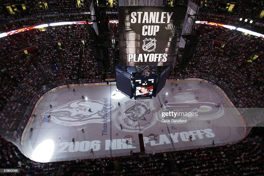 A view of the scoreboard and the ice before the Buffalo Sabres take on the Philadelphia Flyers in game 5 of the Eastern Conference Quarterfinals...