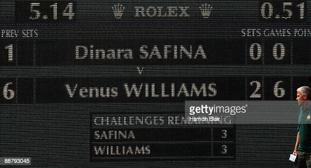 A view of the scoreboard as Venus Williams of USA beats Dinara Safina of Russia in under an hour during the women's singles semi final match on Day...