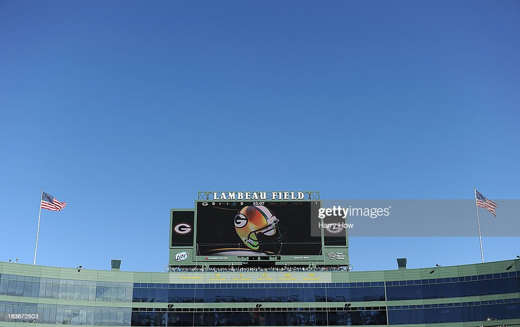 View of the scoreboard before the game between the Detroit Lions and the Green Bay Packers at Lambeau Field on October 6, 2013 in Green Bay, Wisconsin.